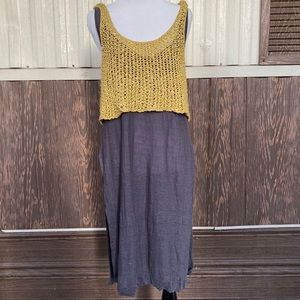 Free People gray yellow side slit top knit size M